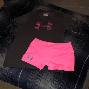 Girls Under Armour shorts & s/s Tee set- size YM